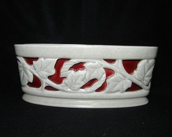 CALIFORNIA POTTERY   Signed  Walter Wilson Taupe and Red LEAF Design  1950s  Hostess Gift, Housewarming gift,