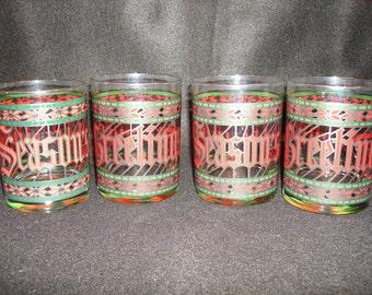 HOUZE Vintage HOLIDAY Seasons Greetings 1979 Christmas glasses   BAR Ware, Kitchen Ware