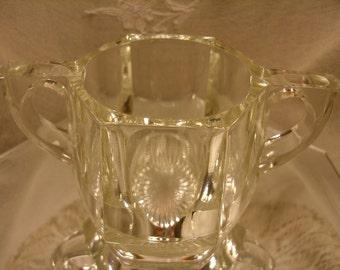 VINTAGE Clear Glass SUGAR BOWL, panel design, star bottom, vintage sugar bowls, Easter