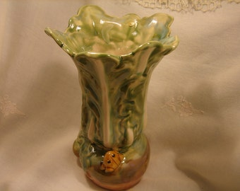 MAJORICA style POTTERY Vase with FROG, blue green, tall, whimsical, housewarming gift, hostess gift