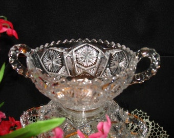 IMPERIAL IG Mark, 2-handled NAPPY, 4.75d Brilliant Imitation Cut Crystal, Collectible Vintage Crystal, Hostess Gift, Housewarming Gift