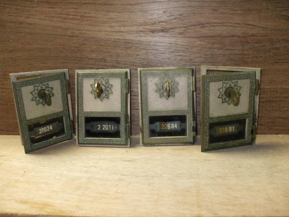 Old brass USPS mailbox doors