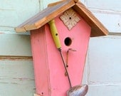 Vintage spoon birdhouse - cottage birdhouse - shabby chic birdhouse - farmhouse garden birdhouse - outdoor birdhouse