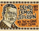 Blind lemon Jefferson Poster- signed by Grego - blues folk art - mojohand.com
