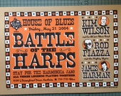 "original hand screen printed House of Blues battle of the Harps poster - harmonica greats 13""x19"""