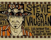 "Stevie Ray Vaughan Poster- signed by Grego - digital - blues folk art - big 12""x18"" - mojohand.com"