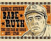 "12""x18"" digital print of Babe Ruth by Grego of mojohand.com - folk art - yankees"