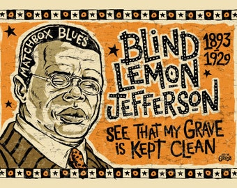 Blind lemon Jefferson Poster- signed by Grego - blues folk art - mojohand.com