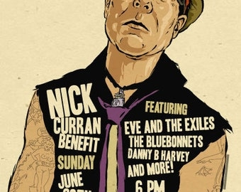 "12""x18"" original concert poster - NICK CURRAN - Austin, Texas signed by the artist"