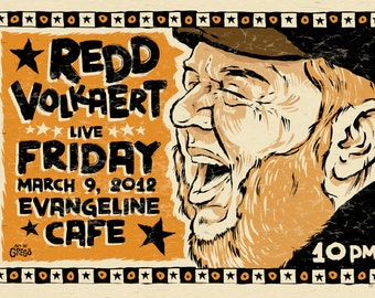 "12""x18"" original concert poster - REDD VOLKAERT - Austin, Texas signed by the artist"