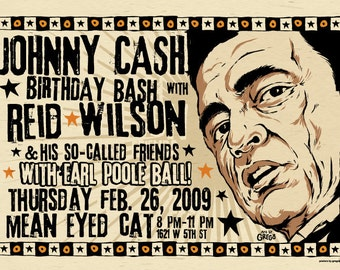 "12""x18"" original concert poster - Johnny Cash birthday show - Austin, Texas signed by the artist"