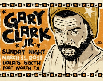 "big 12""x18"" concert poster - Gary Clark JR - Texas- signed by Grego of mojohand.com"