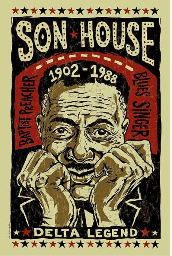 Son House Poster- signed by Grego - digital - blues folk art - Delta Blues guitar