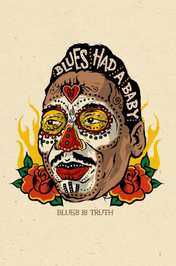 Muddy Waters - sugar skull folk art poster - 12x18 signed by Grego