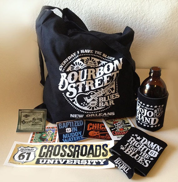 Blues music merchandise pack - 6 stickers, 2 koozies and a cotton tote bag - great gift