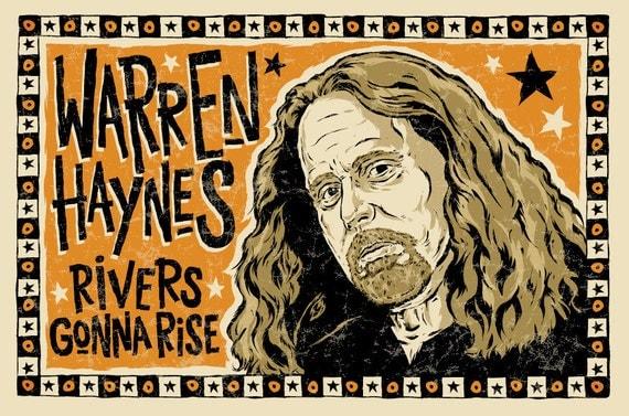 "Warren Haynes Poster- signed by Grego - digital - folk art - big 12""x18"" - mojohand.com"