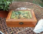 Vintage Treasure Cedar Wood Jewelry Box with Mirror inside Decoupage - end of summer SALe