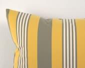 ON SALE Decorative Pillow Cover - Lemon Stripe Lumbar Throw Pillow Cushion Yellow Grey