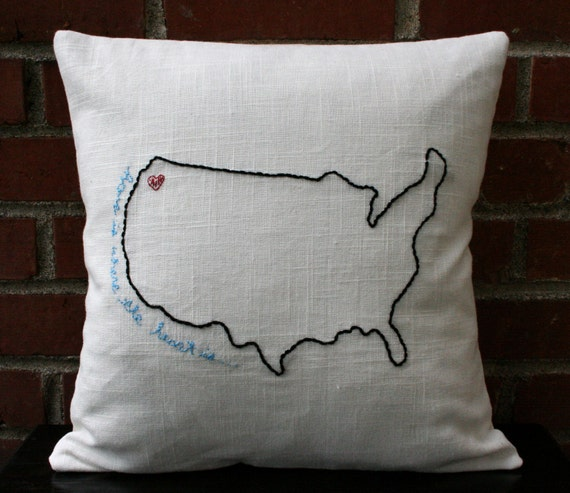 Embroidered Pillow Cover - Home Is Where The Heart Is - Hand-Embroidered Pillows on Linen