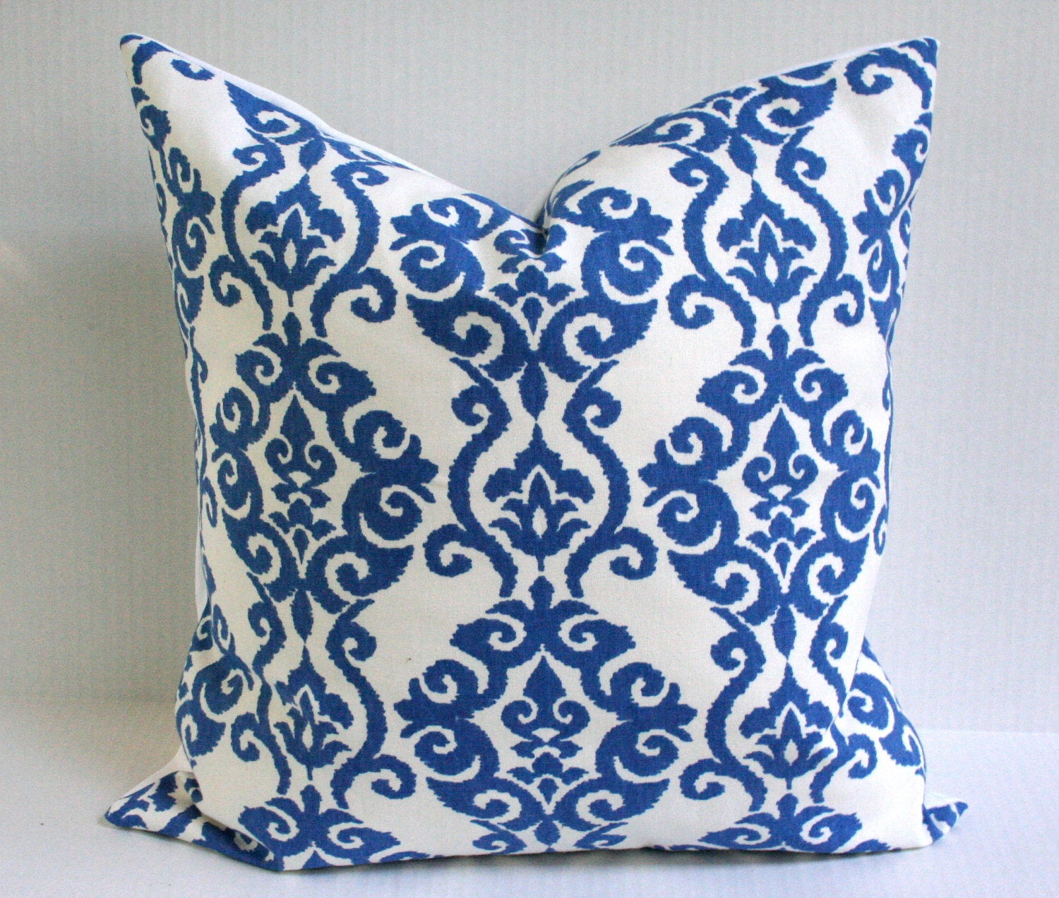 Royal Blue And White Throw Pillows : Ikat Print Accent Pillow Crisp White and Royal Blue by Plumed