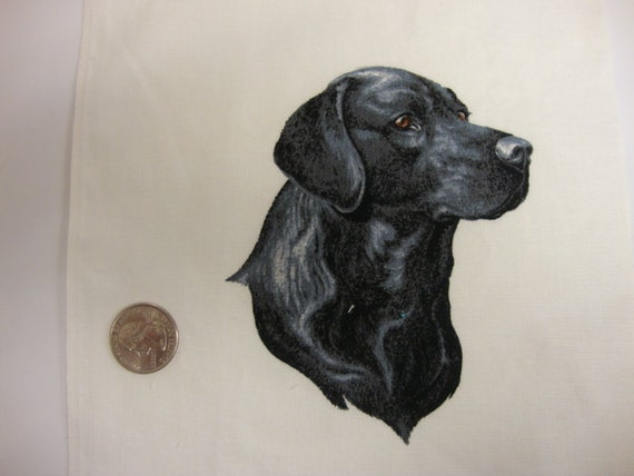Applique Fabric: Small Black Labrador Retriever, Dog Applique