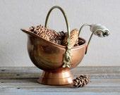 Vintage Scuttle Coal Ash Bucket Pail Copper Brass Blue White Handle