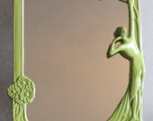 Art Nouveau Mirror Green Solid Brass Table Mirror With Easel Back