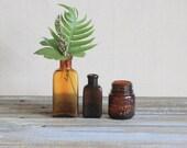 Vintage Amber Glass Bottle Jar Instant Collection