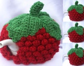 Hand knitted crochet top raspberry design tea cosy cozy christmas gift