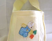 Upcycled Fabrics - Reusable Tote - Colorful Childs Wool Felt Tote With Sequin Bunny Applique-1950's