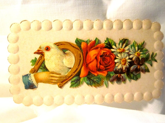lovely victorian calling card  of summer flowers
