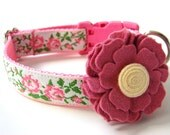 "Floral Dog Collar Pink Shabby Chic Flowers 1"" Matching Dog Collar Flower Available"