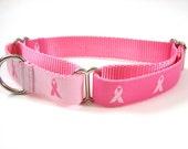 "Pink Dog Collar Martingale Collar 1"" Breast Cancer Dog Collar Matching Dog Collar Flower Available"