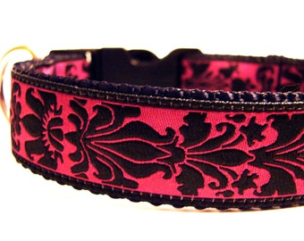 Fancy Dog Collar Magenta and Black Damask