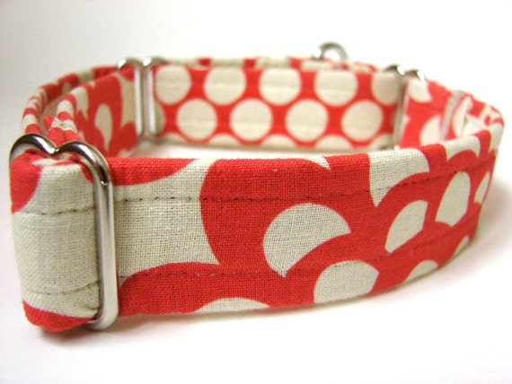 Dog Collar: Martingale Polka Dots and Flowers