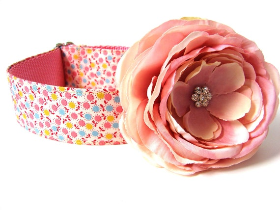 """Martingale Dog Collar Pink Blue Yellow Flower 1.5"""" matching flower available"""