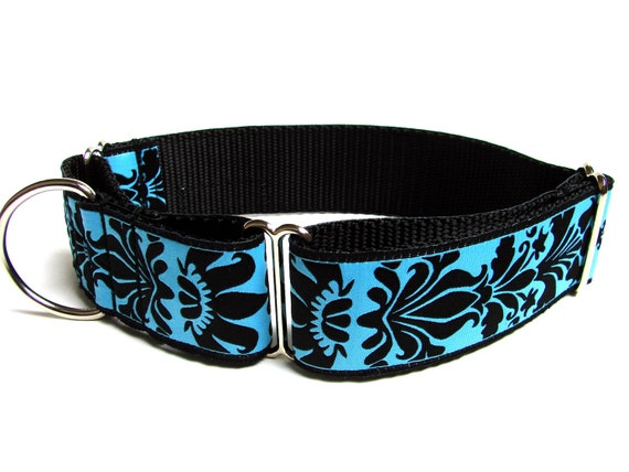 "Martingale Dog Collar Blue Dog Collar Brocade Damask 1.5"" Available in Magenta"