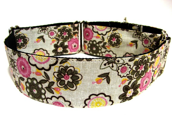 Purple Floral Dog Collar Martingale 1.5""