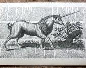 Vintage Unicorn Art Print on Vintage Dictionary Book Page