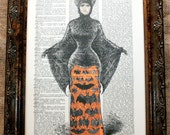 Victorian Halloween Costume (Batwoman) Art Print on Vintage Dictionary Book Page