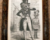 Lion in Top Hat Art Print on Vintage Dictionary Book Page