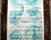 Jellyfish in Blue Art Print from 1908 on Antique Music Book Page