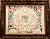 Celestial Chart Map Print of a 1660 Map on Parchment Paper