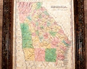 Georgia State Map Print of an 1827 Map on Parchment Paper