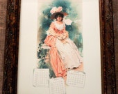 1897 Calendar Girl Apr-Jun Art Print on Cotton Paper