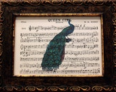 Peacock Art Print on Old Marching Band Music Sheets