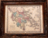 Greece Map Print of an 1855 Map on Parchment Paper