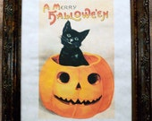 Vintage Halloween Greeting Printed on Parchment Paper