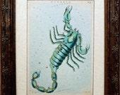 Scorpio Vintage Celestial Card Art Print on Parchment Paper