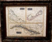 Caribbean Islands Map Print of an 1815 Map on Parchment Paper